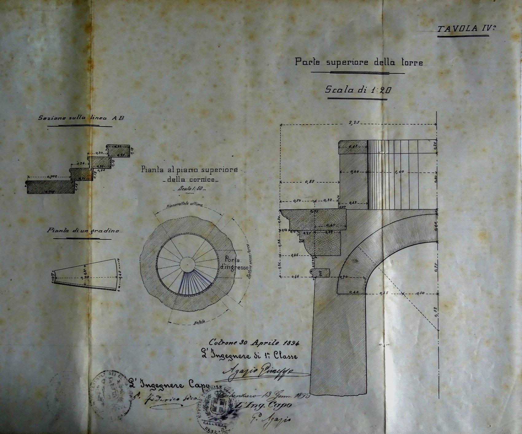 Disegni delle opere d 39 arte del faro di capo rizzuto tav iv for Planimetrie del faro